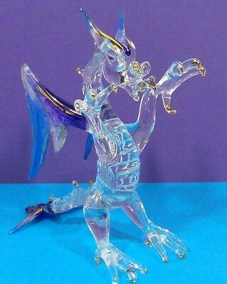 """GLASS DRAGON FIGURINE, 5"""" Tall, Purple, Blue & Gold, Lamp-worked, Fire Breathing"""
