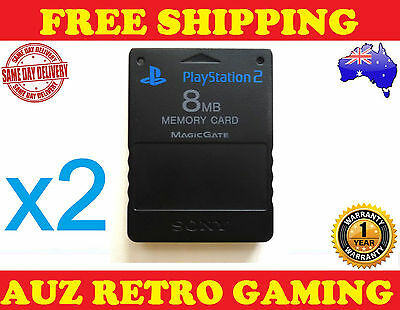 2x Genuine Official PS2 8MB Memory Save Card BLACK For SONY PlayStation 2 PS2