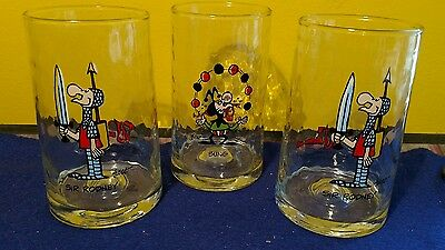 """3 Vintage """"The Wizard Of ID"""" 2 Sir Rodney 1 Bung Arby's 1983 Glass Tumblers EUC"""