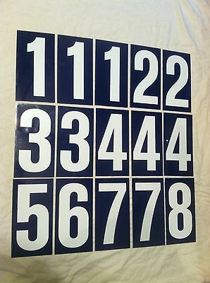 15] Vintage 1960's tin enameled Gas Service Station price number Sign blue/white
