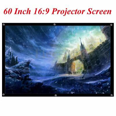60'' 16:9 Home Movie Electric Projection Screen Matte White Blcak Projector