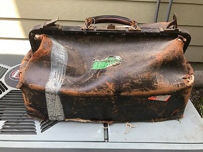 Distressed Doctors Bag Vintage Antique Leather Elephant6 Apples In Stereo