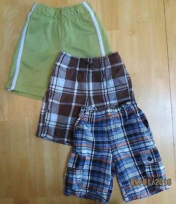 GYMBOREE 3 piece LOT of Size 4 Boys Shorts - 2 plaid; 1 solid Great Condition!