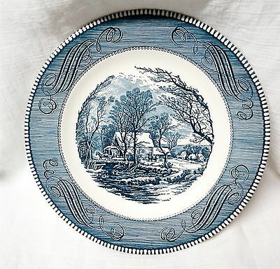 VTG Currier Ives Royal China Blue White Dinner Plate The Old Grist Mill  902bft