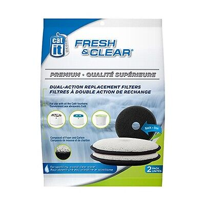 Catit Fresh & Clear Premium Dual Action Filters, 2 PACK, Replacement Filters