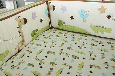 Baby Cot Crib Padded Bumper 4pc Fully Surrounded Optional CribSheet Set