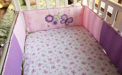 Baby Cot Crib Padded Bumper 4pc Fully Surrounded Optional CribSheet & Quilt Set