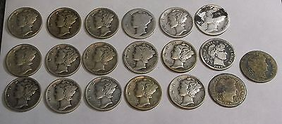 Mixed Lot Of 19 Silver Dimes