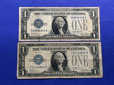 "**Lot of 2** $1 1928-A Small Size Silver Certificates ""FUNNYBACK"""