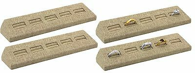 Lot Of 4 Ring Stand Modern Burlap 5 Slots Ring Display Stand Showcase Display