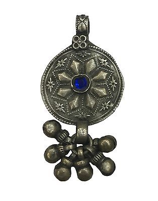 Antique Vintage Ethnic Silver Handmade Old Pendant With Blue Stone & Knighthood