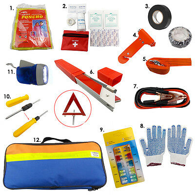 12x Emergency Breakdown Road Safety Kit Vehicle Car Van Caravan Warning Triangle