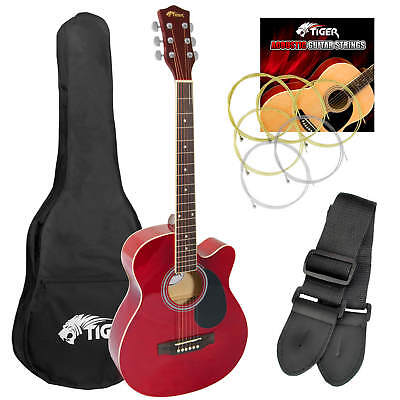 Tiger Small Body Acoustic Guitar Kit -  Red
