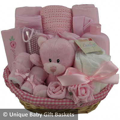 Hospital/new born essentials baby gift basket/hamper girl baby shower nappy cake