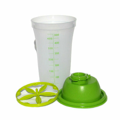 Tupperware New Classic Style Quick Shake 500ml Mix Wip Blend Measure Green Clear
