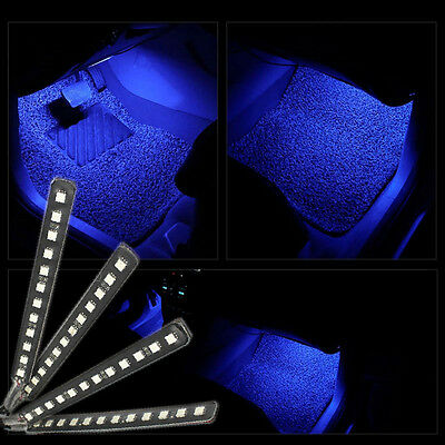 4pcs led car interior xmas decorative blue light bar with cigarette lighter plug cad. Black Bedroom Furniture Sets. Home Design Ideas