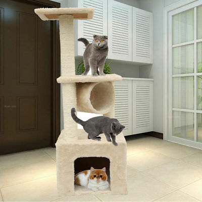 Beige Cat Scratching Post Tree Scratcher Pole Sisal furniture Toy Small