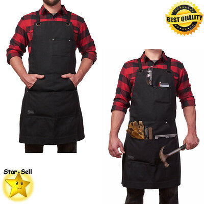 Heavy Duty Work Apron Waxed Canvas Сarpenters Workshop Garage Work Aprons Black