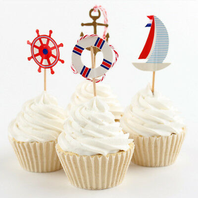24pcs Anchor Flag Pick Toppers Cupcake Cake Decor Anniversary Party Supply