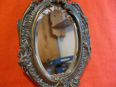 Beautiful 1800s French Rococo Hand Brass / copper Mirror Beveled Glass