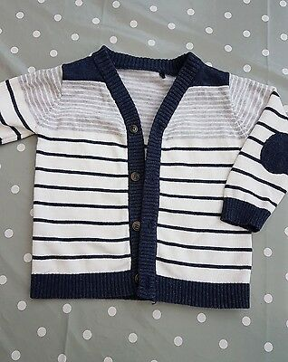 baby boys navy and white cardigan cardi age 9-12 months immaculate condition
