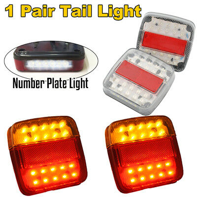 2x SQUARE 20LED TRAILER TAIL LIGHT LAMPS + NUMBER PLATE LIGHTS