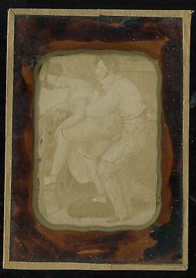 RARE RISQUE FRENCH NUD  PLATE  ALBUMIN  photo  c1890 FRAME 15X10,5 CM