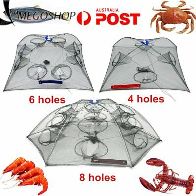 Foldable Crab Net Trap Cast Dip Cage Fishing Bait Fish Minnow Crawfish Shrimp AU