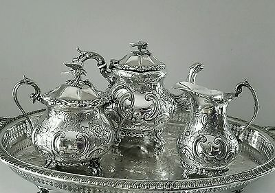 Rare Antique Barker Brothers Beautiful Repousse 4pc Silver Plated Tea Set c1768