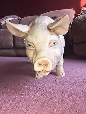 Vintage Pig Statue Poly-Resin Plastic Pink Creamish Very Large and Very Cute