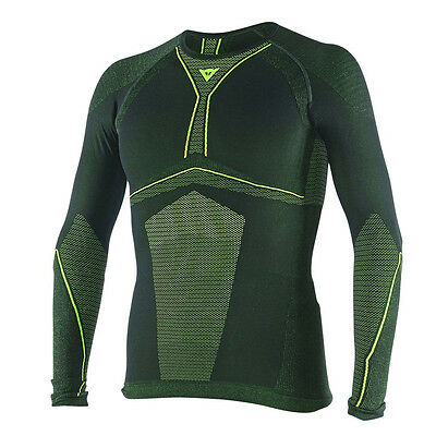 Dainese D-Core Dry LS Black / Fluo Yellow Motorcycle Tee Base Layer   All Sizes