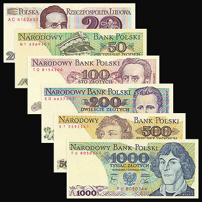 Poland 6 PCS Set (1982-1988),20,50,100,200,500,1000 Zlotych,UNC