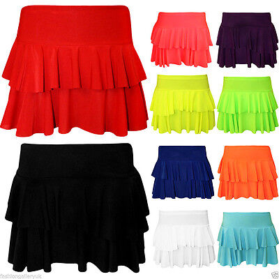Girls Women's Rara Two Tier Frill Gym Dance Ladies Neon Plain Mini Party Skirts