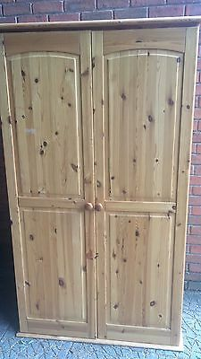 Traditional Victorian Style Bedroom Farmhouse Pine Two Door Wardrobe On Bun Feet
