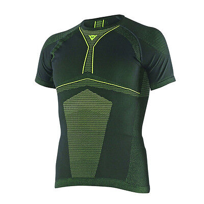 Dainese D-Core Dry SS Black / Fluo Yellow Motorcycle Tee Base Layer | All Sizes