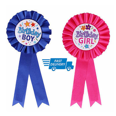 Happy Birthday Boys/Girls Badge Blue Pink Deluxe Ribbon Safety Pin UK Seller