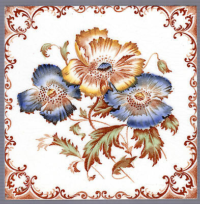 Alfred Meakin c.1905 - Amber & Blue Flowers - Antique Transfer Print tile