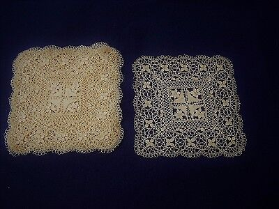 8 Vintage ? Antique ? Fine Delicate Square Lace Doilies Table Mats