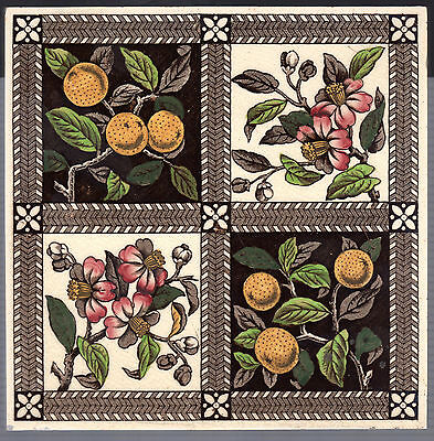 Decorative Art Tile Co - c1880 - Fruits & Flowers - Aesthetic Victorian Antique