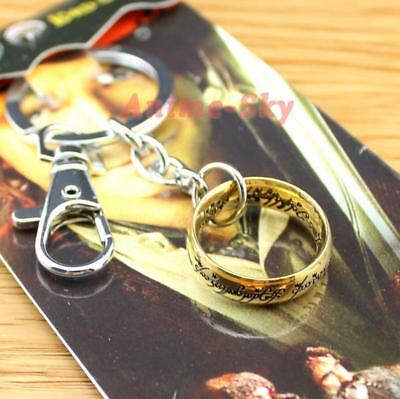 HOT The Hobbit The Lord of the Rings Metal Finger Ring Keychain Pendant Golden