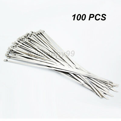 "100 Pcs 11.8"" Locking Stainless Steel Zip Ties For Cable Exhaust Header Wrap"