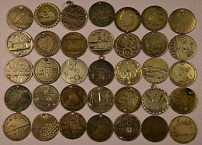 Lot of 35 Pictorial Love Tokens UNIQUE & UNUSUAL SCENES Double Sided Engravings