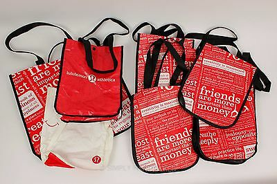 Lululemon Lot of 8 Small & Large Red Reusable Shopping Tote Bags