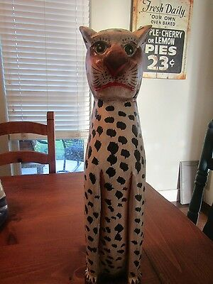 carved wooden Leopard figurine