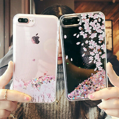 Sakura Dynamic Liquid Glitter Quicksand Phone Case Cover For iPhone 6-XS Max