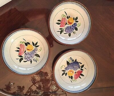 """Stangl Pottery FRUIT AND FLOWERS 8"""" Round Vegetable Bowl Set Of 3"""
