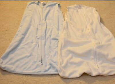 Halo Sleep Sack Lot of 2 Large 12-18 months Blue and Cream, Gently Used
