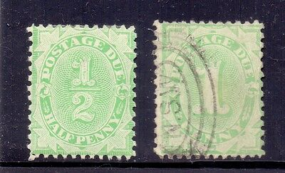 Australia. 1/2d hinged mint and 1d used Postage Due.. 1906/8
