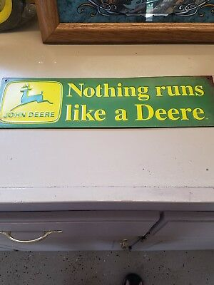 """John Deere Embossed Metal Sign """"Nothing Runs Like A Deere"""" New Collectible Sign"""
