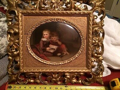 Quality Hand Painted Kpm Porcelain Plaque Two Children Reading A Book